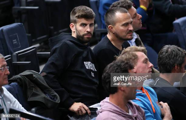 Gerard Pique of FC Barcelona attends the doubles match of countrymen Feliciano Lopez and Marc Lopez of Spain on day 1 of the Rolex Paris Masters 2017...