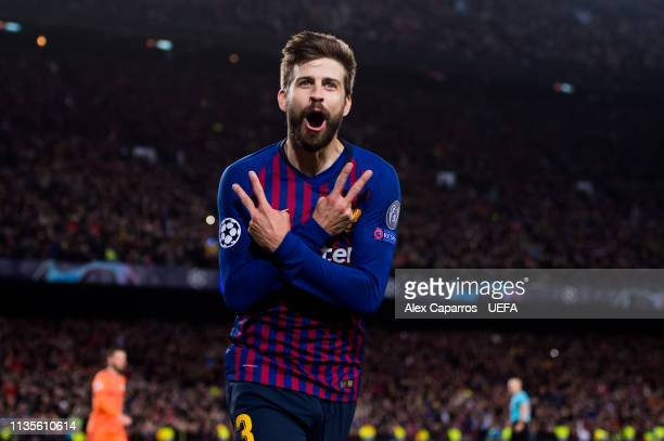 Gerard Pique of FC Barcelona celebrates after scoring his team's fourth goal during the UEFA Champions League Round of 16 Second Leg match between FC...