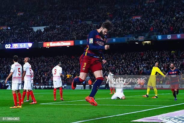 Gerard Pique of FC Barcelona celebrates after scoring his team's second goal during the La Liga match between FC Barcelona and Sevilla FC at Camp Nou...