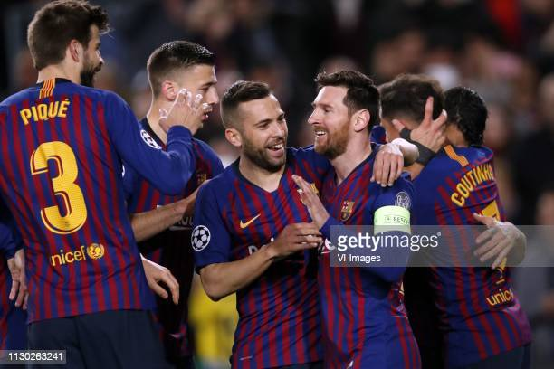 Gerard Pique of FC Barcelona Clement Lenglet of FC Barcelona Jordi Alba of FC Barcelona Lionel Messi of FC Barcelona Philippe Coutinho of FC...