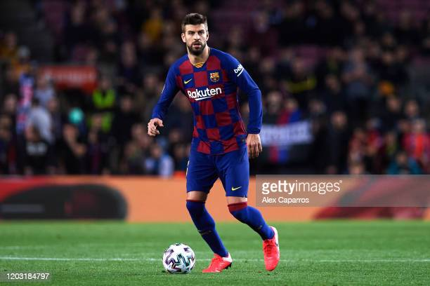 Gerard Pique of FC Barcelona conducts the ball during the Copa del Rey Round of 16 match between FC Barcelona and CD Leganes at Camp Nou on January...