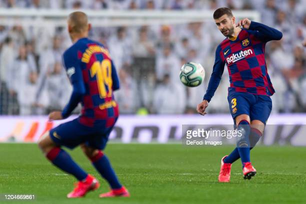 Gerard Pique of FC Barcelona controls the ball during the Liga match between Real Madrid CF and FC Barcelona at Estadio Santiago Bernabeu on March 1...