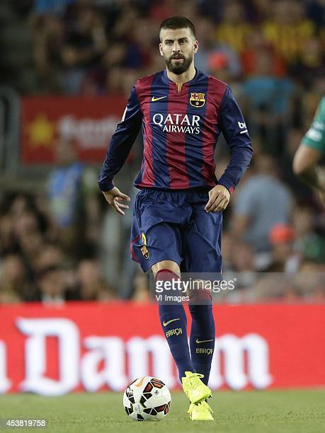 Gerard Pique of FC Barcelona during the Joan Gamper Trophy match between FC Barcelona and Leon FC at Camp Nou on august 18 2014 in Barcelona Spain