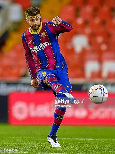Gerard Pique of FC Barcelona during the La Liga match between Valencia CF and FC Barcelona played at Mestalla Stadium on May 2, 2021 in Valencia,...