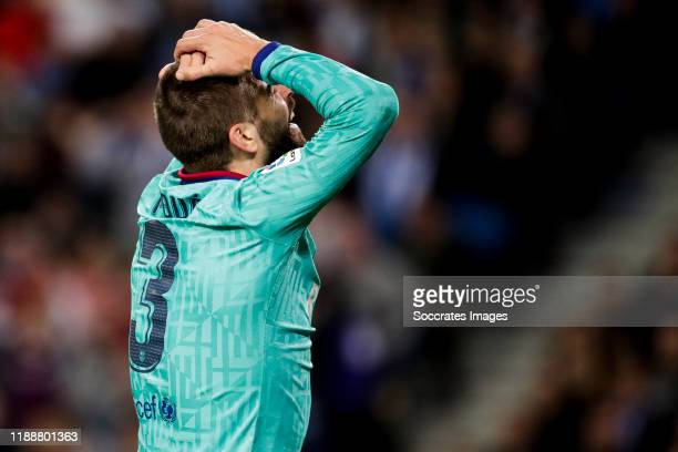 Gerard Pique of FC Barcelona during the La Liga Santander match between Real Sociedad v FC Barcelona at the Estadio Anoeta on December 14 2019 in San...