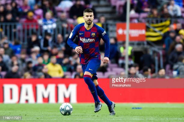 Gerard Pique of FC Barcelona during the Liga match between Barcelona and Deportivo Alaves on December 21, 2019 in Barcelona, Spain.