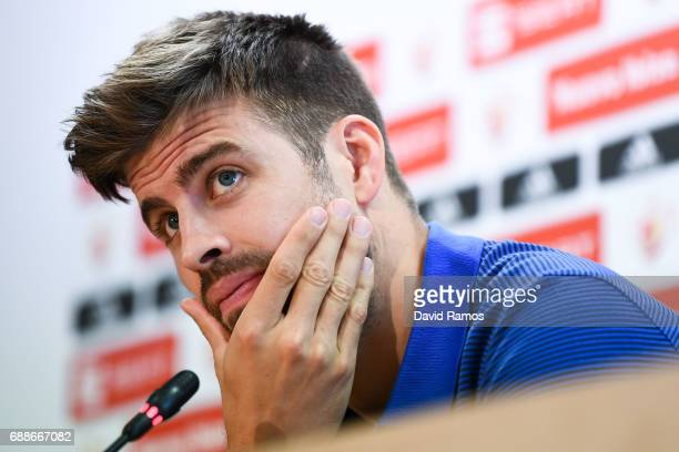 Gerard Pique of FC Barcelona faces the media during a press conference at FC Barcelona Sports Centre on May 26 2017 in Barcelona Spain