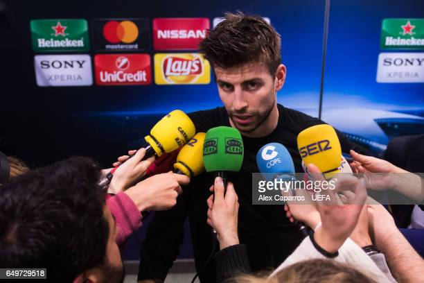 Gerard Pique of FC Barcelona faces the media in the mixed zone area after the UEFA Champions League Round of 16 second leg match between FC Barcelona...