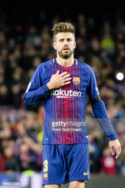 Gerard Pique of FC Barcelona gestures during the La Liga 201718 match between FC Barcelona and Deportivo La Coruna at Camp Nou Stadium on 17 December...