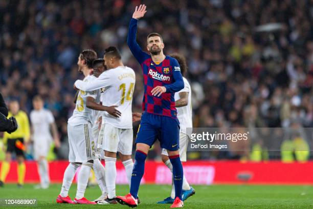 Gerard Pique of FC Barcelona gestures during the Liga match between Real Madrid CF and FC Barcelona at Estadio Santiago Bernabeu on March 1 2020 in...
