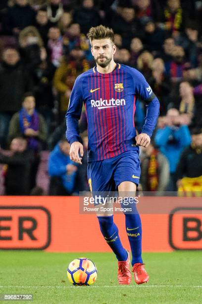 Gerard Pique of FC Barcelona in action during the La Liga 201718 match between FC Barcelona and Deportivo La Coruna at Camp Nou Stadium on 17...