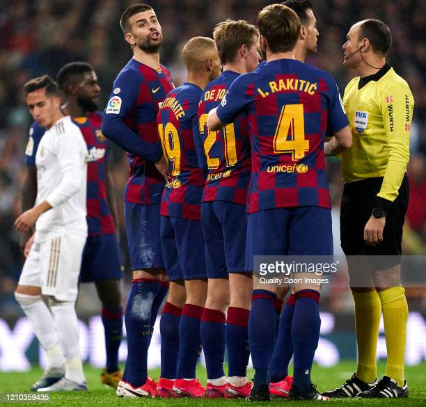 Gerard Pique of FC Barcelona in action during the Liga match between Real Madrid CF and FC Barcelona at Estadio Santiago Bernabeu on March 01 2020 in...