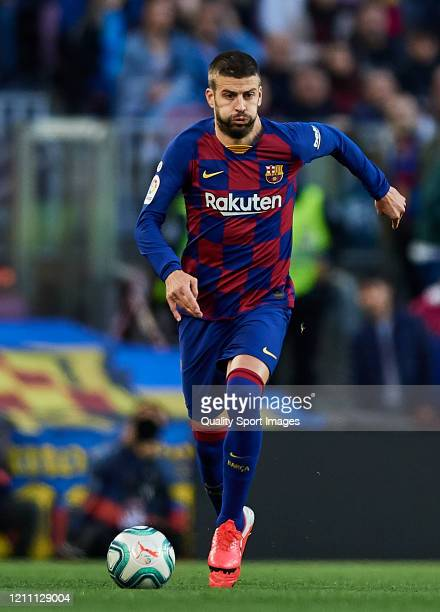 Gerard Pique of FC Barcelona in action during the Liga match between FC Barcelona and Real Sociedad at Camp Nou on March 07 2020 in Barcelona Spain