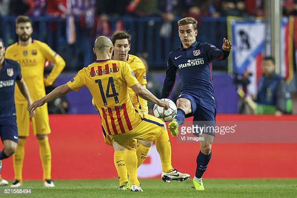 Gerard Pique of FC Barcelona Javier Mascherano of FC Barcelona Lionel Messi of FC Barcelona Antoine Griezmann of Club Atletico de Madrid during the...