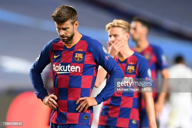 Gerard Pique of FC Barcelona looks dejected during the UEFA Champions League Quarter Final match between Barcelona and Bayern Munich at Estadio do...