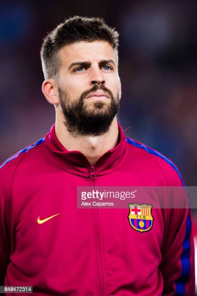 Gerard Pique of FC Barcelona looks on before the UEFA Champions League group D match between FC Barcelona and Juventus at Camp Nou on September 12...