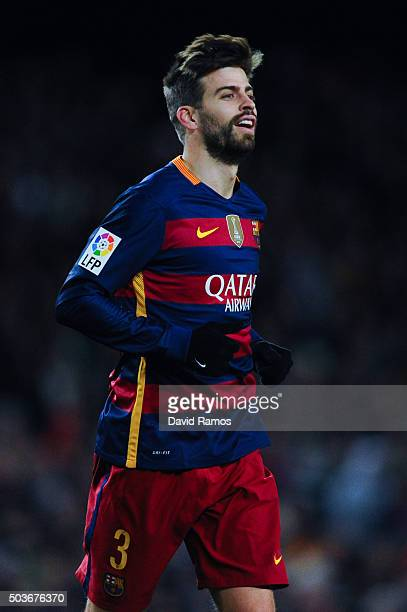 Gerard Pique of FC Barcelona looks on during the Copa del Rey Round of 16 first leg match between FC Barcelona and RCD Espanyol at Camp Nou on...