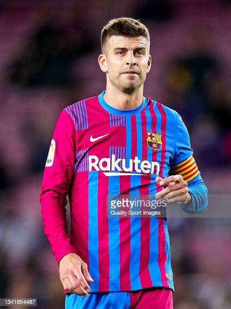 Gerard Pique of FC Barcelona looks on during the La Liga Santander match between FC Barcelona and Granada CF at Camp Nou on September 20, 2021 in...