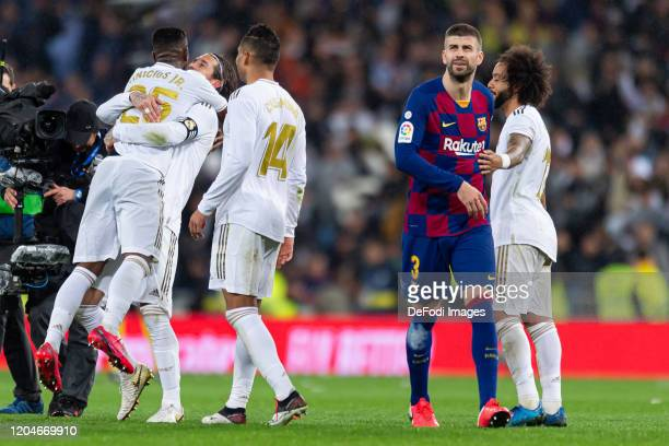 Gerard Pique of FC Barcelona looks on during the Liga match between Real Madrid CF and FC Barcelona at Estadio Santiago Bernabeu on March 1 2020 in...
