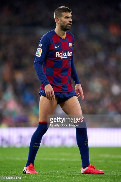 Gerard Pique of FC Barcelona looks on during the Liga match between Real Madrid CF and FC Barcelona at Estadio Santiago Bernabeu on March 01 2020 in...