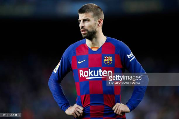 Gerard Pique of FC Barcelona looks on during the Liga match between FC Barcelona and Real Sociedad at Camp Nou on March 07 2020 in Barcelona Spain