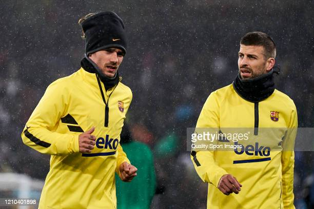 Gerard Pique of FC Barcelona looks on prior the game during the Liga match between Real Madrid CF and FC Barcelona at Estadio Santiago Bernabeu on...