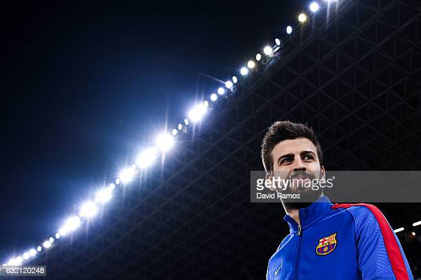 Gerard Pique of FC Barcelona looks on prior to kickoff during the Copa del Rey quarterfinal first leg match between Real Sociedad and FC Barcelona at...