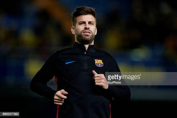 Gerard Pique of FC Barcelona looks on prior to the La Liga game between Villarreal CF and FC Barcelona at Estadio de la Ceramica on December 10 2017...