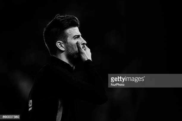 Image has been converted to black and white Gerard Pique of FC Barcelona looks on prior to the La Liga game between Villarreal CF and FC Barcelona at...