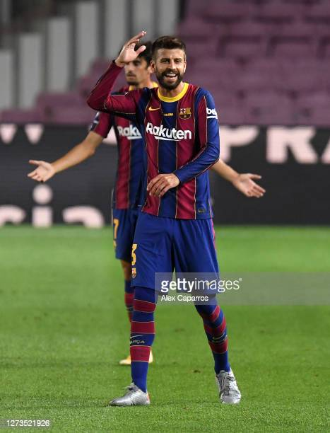 Gerard Pique of FC Barcelona reacts during the Joan Gamper Trophy match between FC Barcelona and Elche CF on September 19, 2020 in Barcelona, Spain.