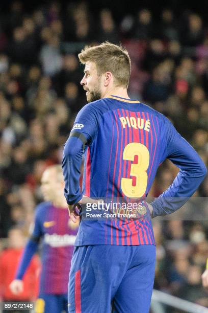 Gerard Pique of FC Barcelona reacts during the La Liga 201718 match between FC Barcelona and Deportivo La Coruna at Camp Nou Stadium on 17 December...