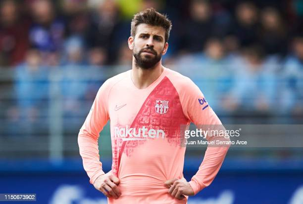Gerard Pique of FC Barcelona reacts during the La Liga match between SD Eibar and FC Barcelona at Ipurua Municipal Stadium on May 19, 2019 in Eibar,...