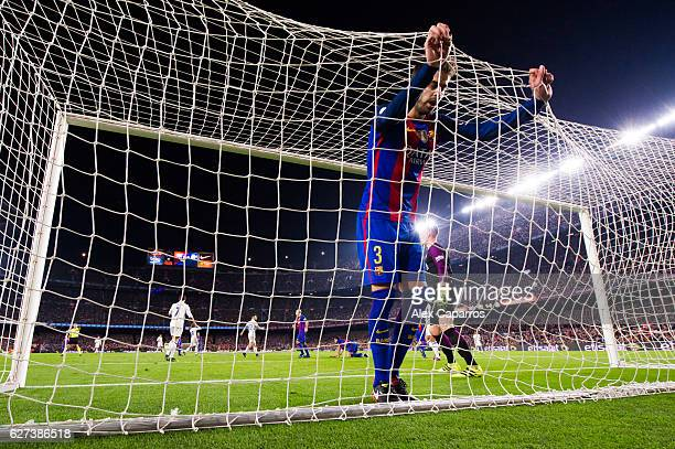 Gerard Pique of FC Barcelona reacts during the La Liga match between FC Barcelona and Real Madrid CF at Camp Nou stadium on December 3 2016 in...