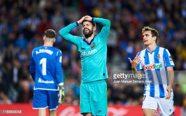 Gerard Pique of FC Barcelona reacts during the Liga match between Real Sociedad and FC Barcelona at Estadio Anoeta on December 14, 2019 in San...