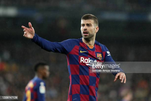 Gerard Pique of FC Barcelona reacts during the Liga match between Real Madrid CF and FC Barcelona at Estadio Santiago Bernabeu on March 01, 2020 in...