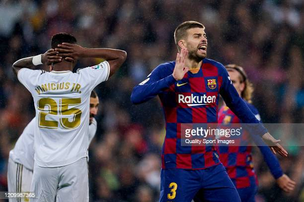 Gerard Pique of FC Barcelona reacts during the Liga match between Real Madrid CF and FC Barcelona at Estadio Santiago Bernabeu on March 01 2020 in...