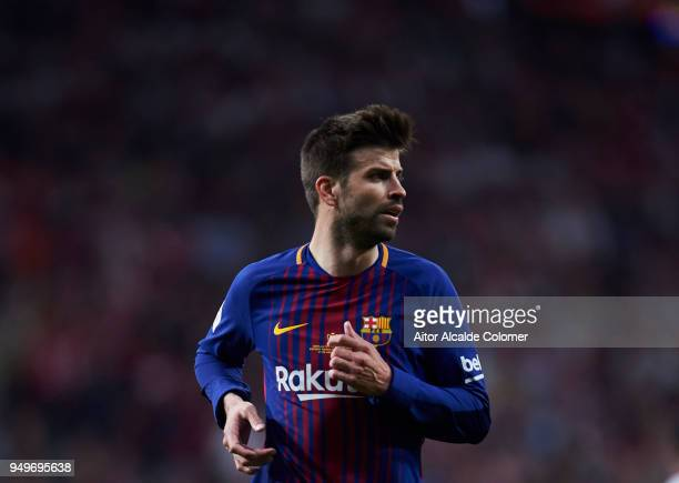 Gerard Pique of FC Barcelona reacts during the Spanish Copa del Rey Final between Barcelona and Sevilla at Wanda Metropolitano on April 21 2018 in...