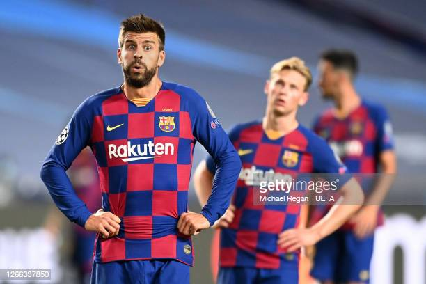 Gerard Pique of FC Barcelona reacts during the UEFA Champions League Quarter Final match between Barcelona and Bayern Munich at Estadio do Sport...