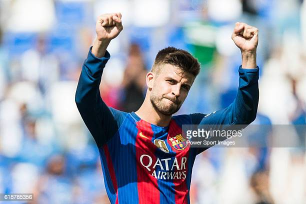 Gerard Pique of FC Barcelona reacts during their La Liga match between Deportivo Leganes and FC Barcelona at the Butarque Municipal Stadium on 17...