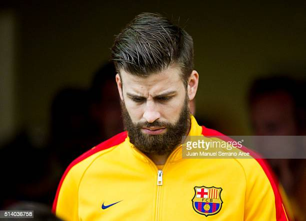 Gerard Pique of FC Barcelona reacts on prior to the start the La Liga match between SD Eibar and FC Barcelona at Ipurua Municipal Stadium on March 6...