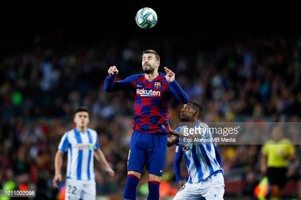 Gerard Pique of FC Barcelona refuses the ball during the Liga match between FC Barcelona and Real Sociedad at Camp Nou on March 07 2020 in Barcelona...