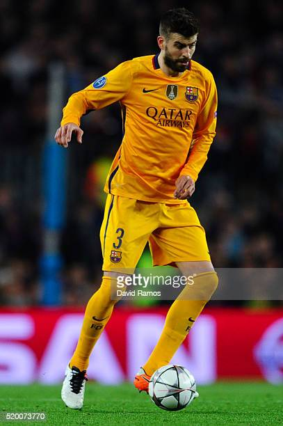 Gerard Pique of FC Barcelona runs with the ball during the UEFA Champions League quarter final first leg match between FC Barcelona and Club Atletico...
