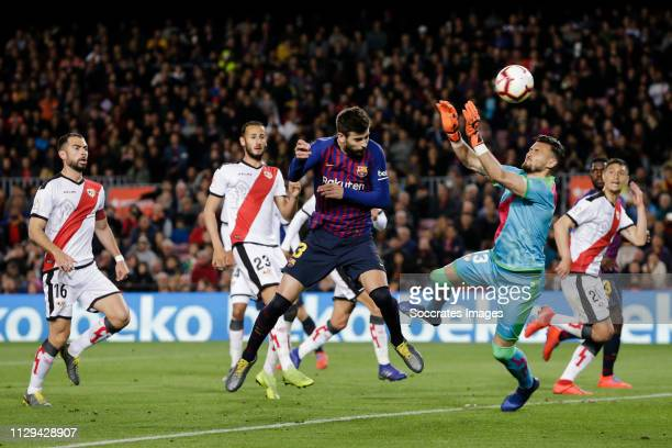 Gerard Pique of FC Barcelona scores the second goal to make it 11 during the La Liga Santander match between FC Barcelona v Rayo Vallecano at the...