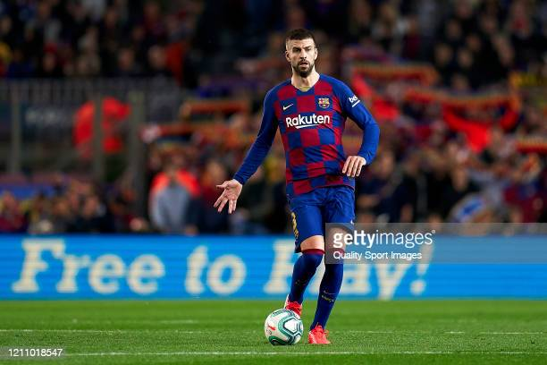 Gerard Pique of FC Barcelona with the ball during the Liga match between FC Barcelona and Real Sociedad at Camp Nou on March 07 2020 in Barcelona...