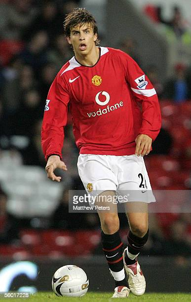 Gerard Pique of Manchester United in action on the ball during the Carling Cup third round match between Manchester United and Barnet at Old Trafford...