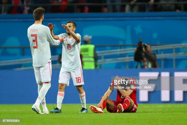 Gerard Pique of Spain and Jordi Alba of Spain celebrate at the end of the 2018 FIFA World Cup Russia group B match between Iran and Spain at Kazan...