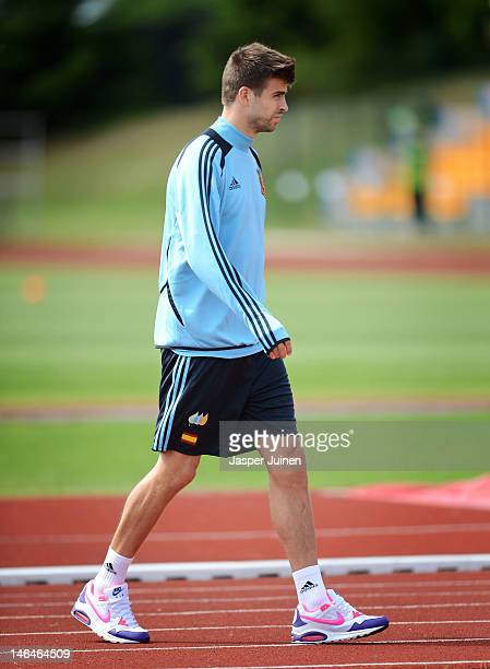 Gerard Pique of Spain arrives for a training session ahead of their UEFA EURO 2012 group C match against Croatia on June 17 2012 in Gniewino Poland