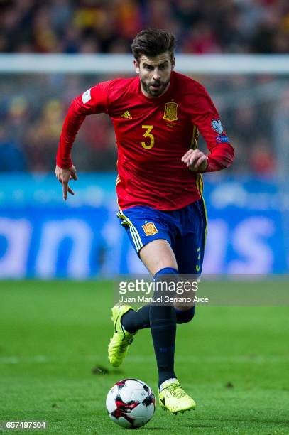 Gerard Pique of Spain controls the ball during the FIFA 2018 World Cup Qualifier between Spain and Israel at Estadio El Molinon on March 24 2017 in...
