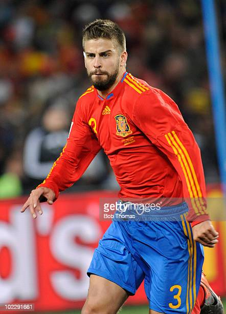 Gerard Pique of Spain during the 2010 FIFA World Cup South Africa Group H match between Spain and Honduras at Ellis Park Stadium on June 21 2010 in...