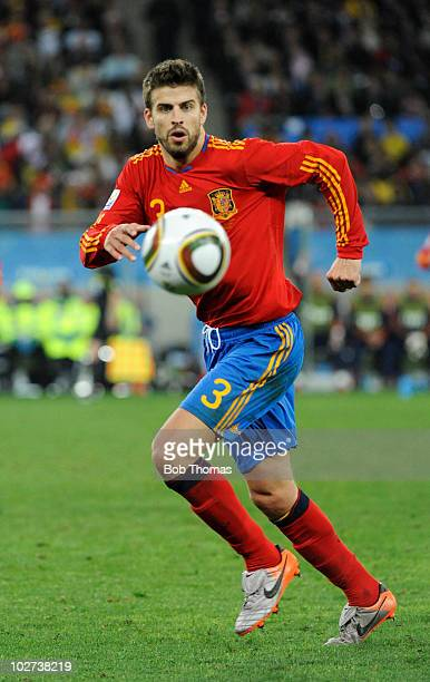 Gerard Pique of Spain during the 2010 FIFA World Cup South Africa Semi Final match between Germany and Spain at Durban Stadium on July 7 2010 in...